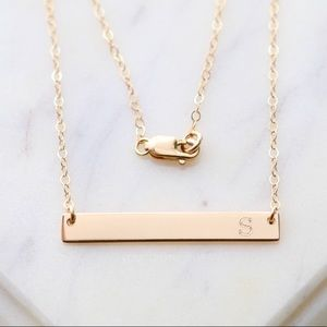 14K Gold Filled Engraved Initial Bar Necklace